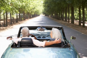 retired couple in car
