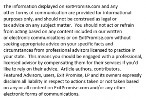 Exit Promise Disclaimer 1/13/2018